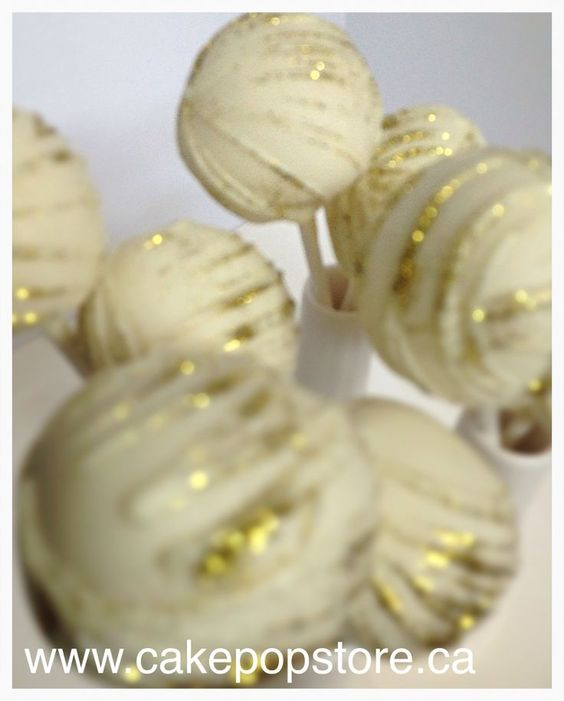 gold cake pops | White & Gold cake pops