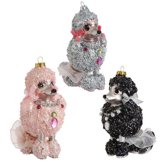 Glass Poodle Glitter Christmas Ornament only $17.99 each at ...