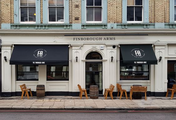 Special Branding To Awnings At The Finborough Arms Canvas Awnings House Styles Copper Awning