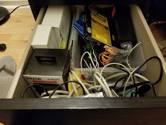 Organizing your cable drawer