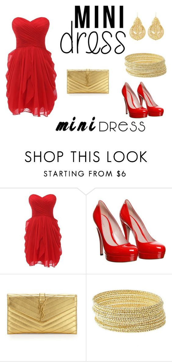 """Mini Dress"" by atenaide86 ❤ liked on Polyvore featuring Gucci, Yves Saint Laurent, Charlotte Russe and IaM by Ileana Makri"