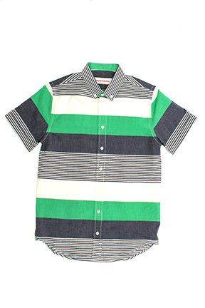 General Assembly striped short sleeve button up.  Love the bold green stripes.