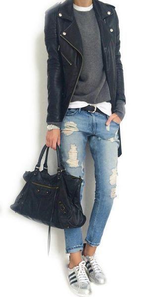 Lässiger gehts nicht - coole Sommernacht oder lauer Herbststyle - Blue Jeans mit Sneakers und Lederjacke *** Rock 'n' Roll Tomboy style: