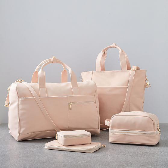 Vegan Leather Travel Set Blush In 2020 Leather Travel Set Leather Luggage Set Travel Bag Set