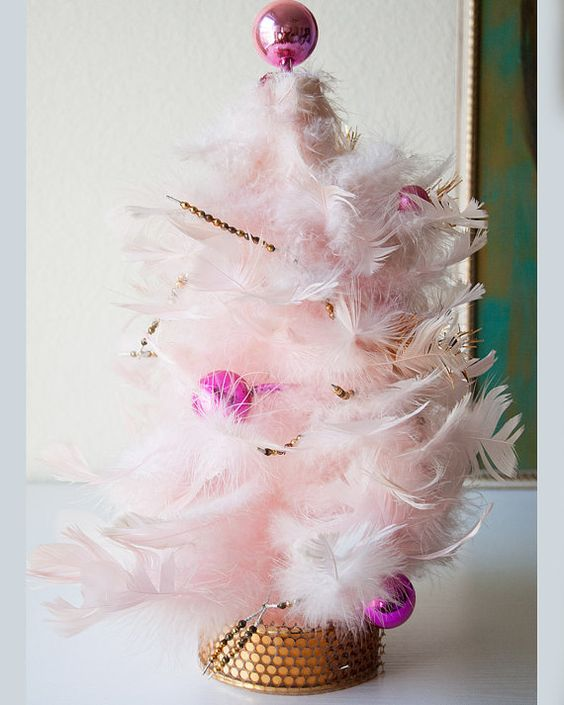 Vintage pink feather handmade christmas holiday decoration table ...