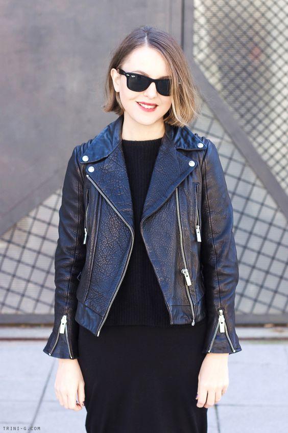Trini | The Kooples leather jacket Gap dress The Kooples sweater