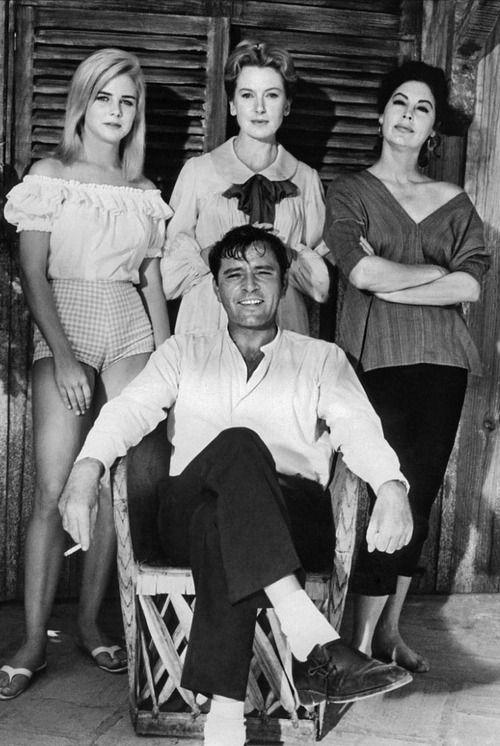 Sue Lyon, Deborah Kerr, Ava Gardner & Richard Burton  on the set of The Night of the Iguana