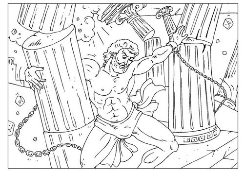 The Heroes Of The Bible Coloring Pages Samson Sunday School