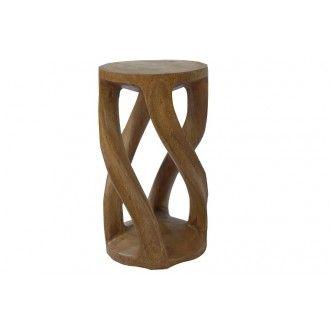 Hocker (rund) aus Massivholz geschnitzt