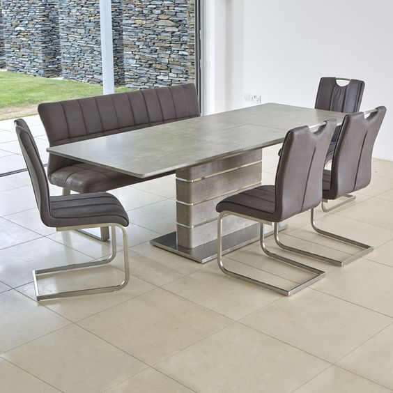 Novara Extending Dining Table Bench 4 Chairs Dining Table