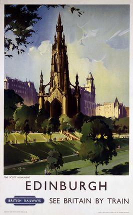 'Edinburgh: The Scott Monument', BR poster, c 1950s.
