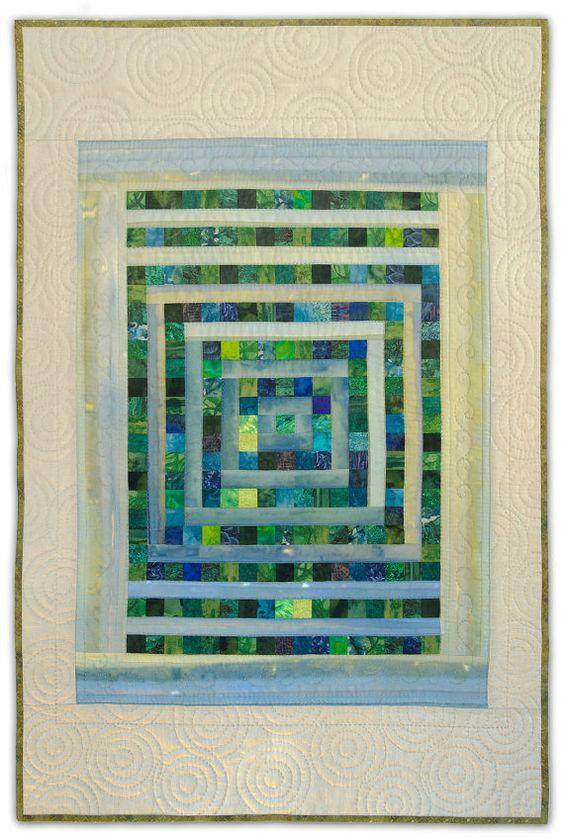Art Quilt, Original, Hand Quilted, The Rainy Garden Window by Heather Lair