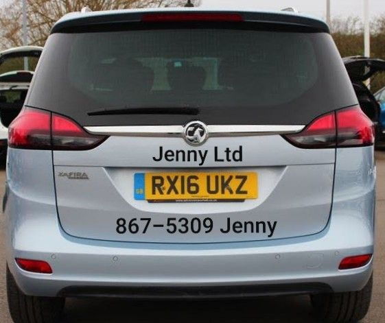 A Vauxhall Zafira Tourer With A Jenny Sticker 867 5309 Jenny Sticker