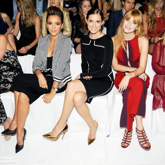 Jessica Alba wearing DVF jacket, pencil skirt, clutch and shoes, Alison Williams wearing DVF Resort '14 dress, Bella Thorne wearing DVF Fall '13 jumpsuit (Look 29) and clutch