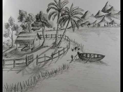 Me And My Wife Gopi And Nandhini Do Drawings And Art Works In Our Free Time We Learn Scenery Drawing Pencil Pencil Sketch Tutorial Landscape Pencil Drawings