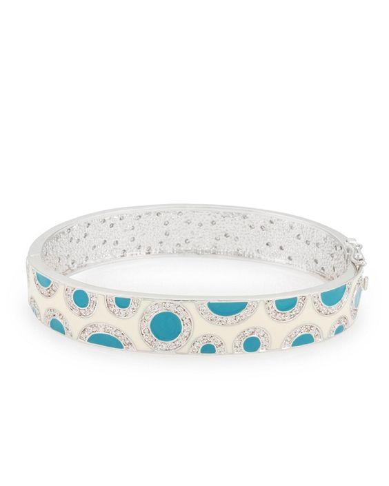 BaubleBox | Nora 4ct CZ White Gold Rhodium Spotted Enamel Bangle
