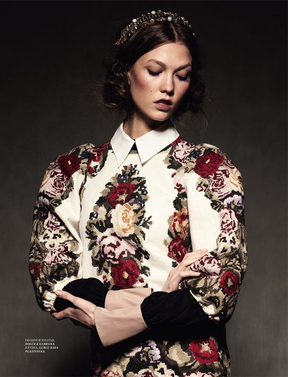 Russian style in fashion. Floral pattern