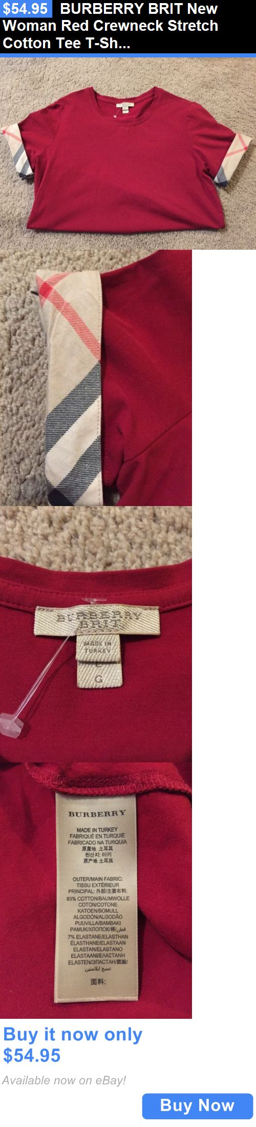 Women T Shirts: Burberry Brit New Woman Red Crewneck Stretch Cotton Tee T-Shirt Size L $129 Nwt BUY IT NOW ONLY: $54.95