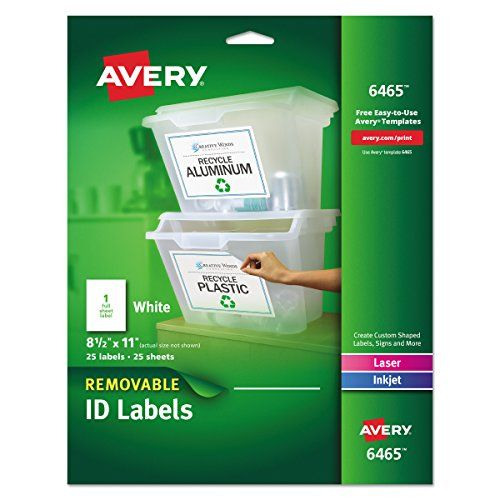 Avery Self Adhesive Removable Laser Id Labels White 8 5 Https Www Amazon Com Dp B00007lveu Ref Cm Sw R Pi Dp U X F Labels Sheet Labels Full Sheet Labels