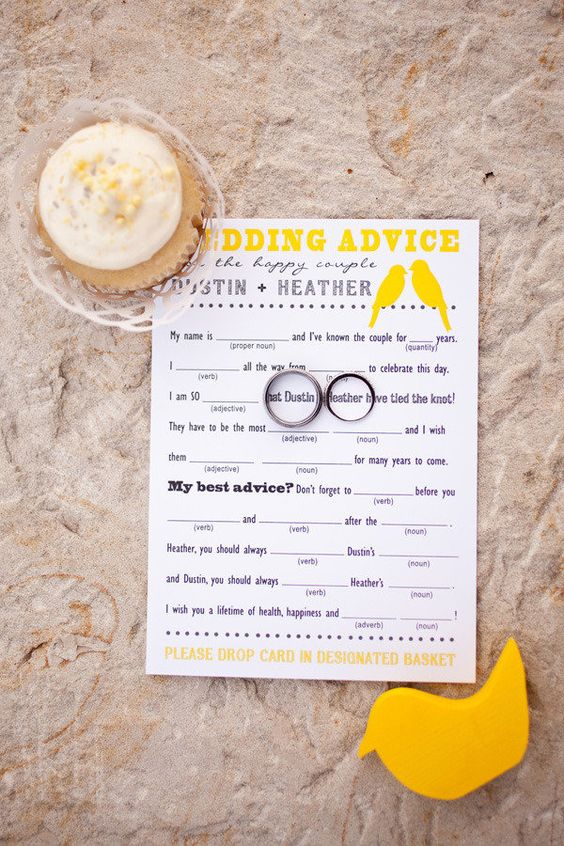 Very Cute! Fill-In-The-Blank Wedding Advice Made by Bride @ 2 Little Yellow Birds - etsy.com/...        Photography by mustardseedphoto.com: Shower Game, Fun Idea, Advice Card, Wedding Madlibs, Wedding Ideas, Cute Ideas, Wedding Showers