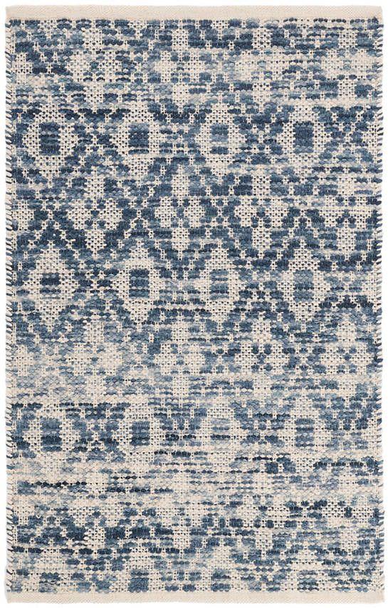 Ombre Diamond Blue Woven Cotton Rug Dash Albert Rugs Cotton Rug Flat Weave Rug