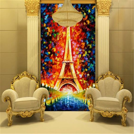 Eiffel Tower Wallpaper oil painting 3D Photo Wallpaper Colorful Wall Mural  Children Bedroom Kids room decor. Eiffel Tower Wallpaper oil painting 3D Photo Wallpaper Colorful