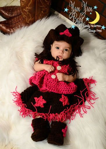Cowgirl Outfit, Cowgirl Hat, Vest, Skirt, Booties, Crochet ...