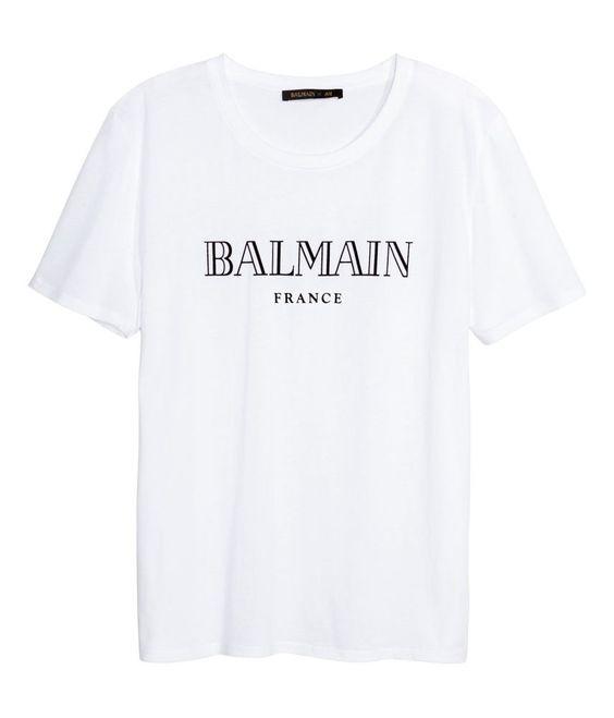 H m men balmain paris and men 39 s t shirts on pinterest for Balmain white logo t shirt
