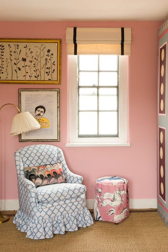 Pink Bedroom - Beata Heuman and Emily Senior (houseandgarden.co.uk) Chair fabric is Kashmira in Azure from the Echo Heirloom India Collection by Baker Lifestyle.