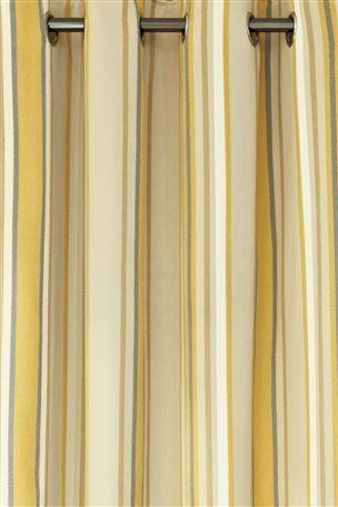 Ochre Woven Stripe Eyelet Curtains | Nesting :: Bedroom ...