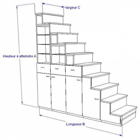 Meuble escalier pour mezzanine avec rangements sur mesure escalier pinter - Mezzanine avec rangement ...