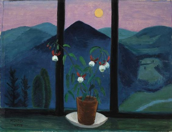MÜNTER, Gabriele (German, 1877-1962) Fuchsie von mondlandschaft (Fuchsia in front of a moonlit landscape) (1928) - Oil on cardboard, laid down on cardboard, 53 x 71 cm, Private collection