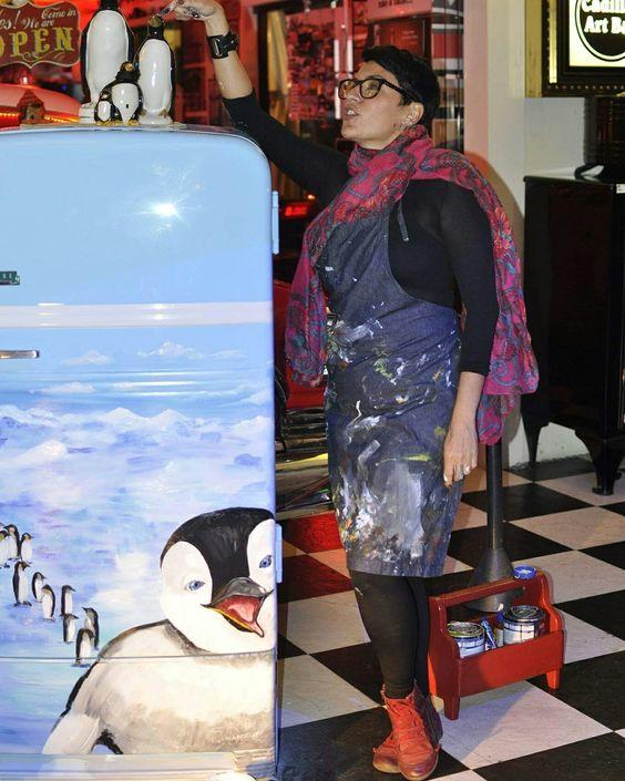 """Geladeira personalizada """"marcha dos pinguins"""""""