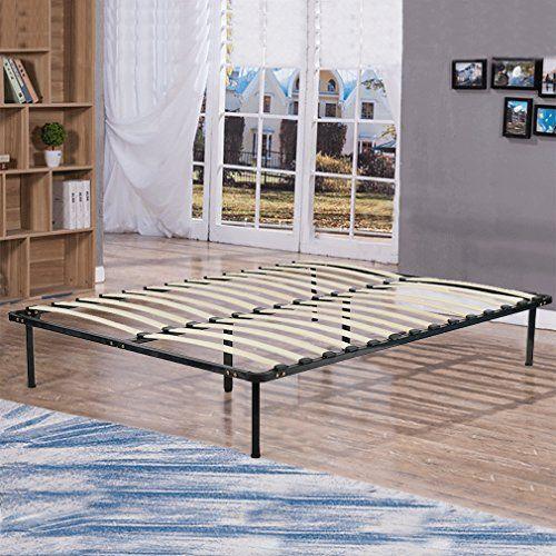 Bestmassage Bed Frame Metal Platform Bed Frame Steel Wood Slat Bed Black Queen Size Mattress Foundati With Images