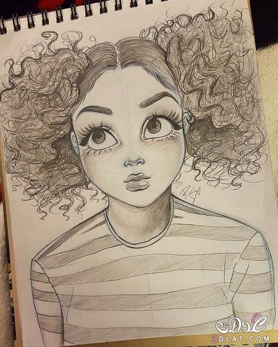 صور بنات مرسومة بالقلم الرصاص روعه رسومات بالرصاص Girl Drawing