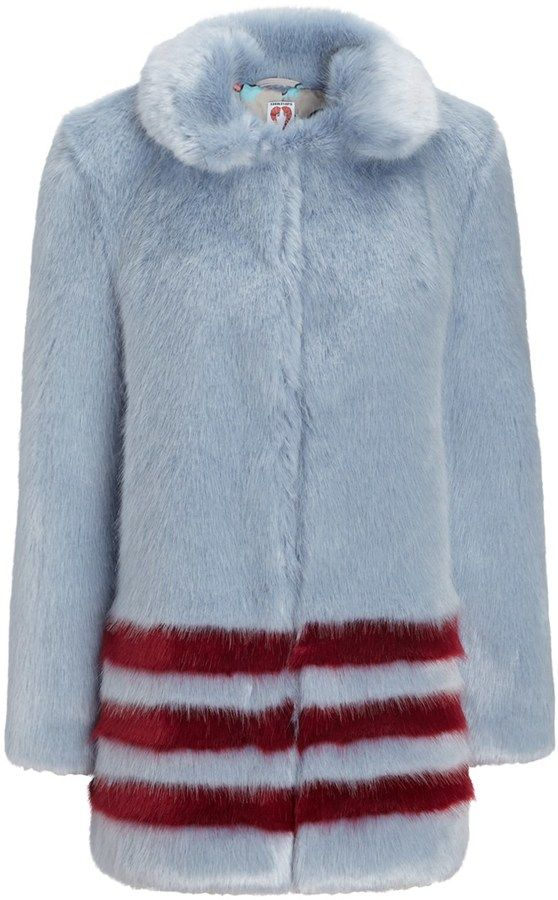 Shrimps Blue Faux Fur Dulcie Coat