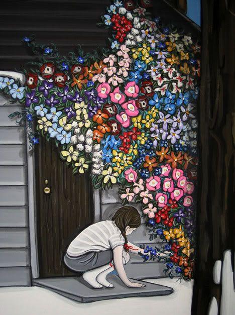 """Detail of """"Flower Invasion"""" by Kiersten Essenpreis"""