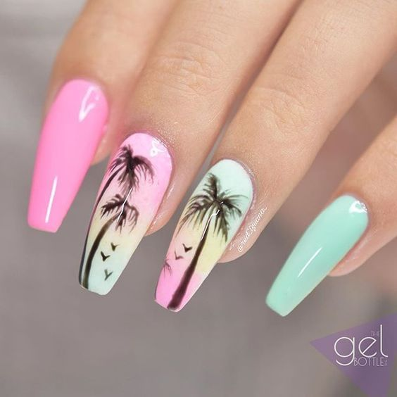 Perfect Palm Tree Coffin Nail Ideas In Hot Summer Palm Tree Nails Coffin Nails Acrylic Nails Summer Nails Palm Nails Palm Tree Nails Tree Nails