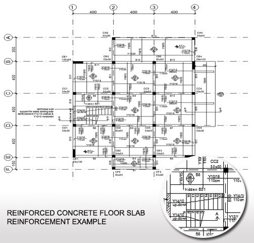 Concrete floor slab reinforcement example plan view of a for Slab house floor plans