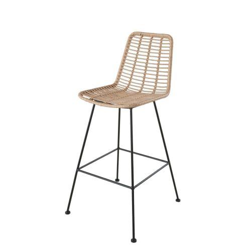 Chaise Haute De Jardin Professionnelle En Resine Et Metal Noir Maisons Du Monde En 2020 Chaise Haute Chaise Bar En Bois