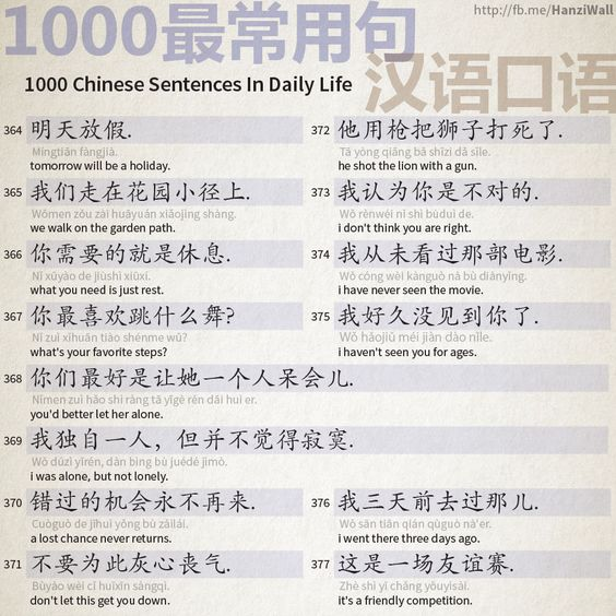 1000 Chinese Sentences In Daily Life Part 24