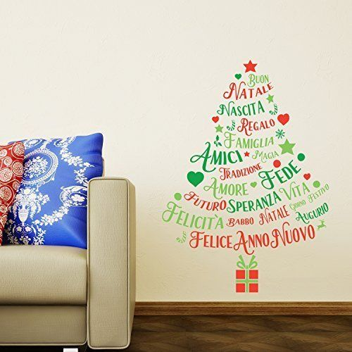 Christmas Decorations Wall Stickers  Italian Quotes Christmas Tree  Wall Murals Decals living Room Children Nursery School Restaurant Cafe Hotel Home Dcor * Check this awesome product by going to the link at the image.