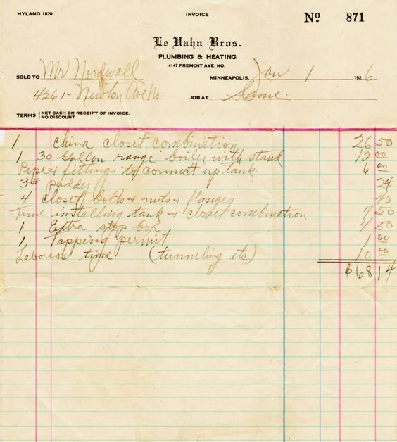 whole house plumbing bill from LeVahn Brothers Plumbing 1923 - plumbing receipt