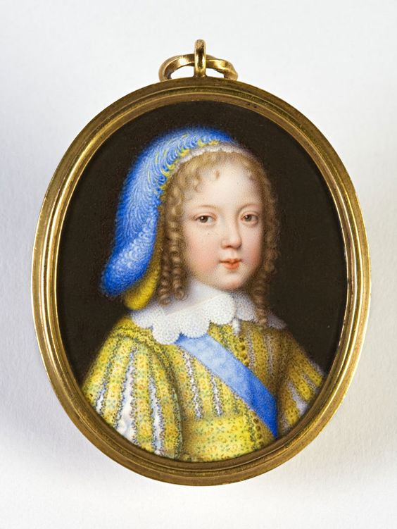 Louis XIV, as a child, by Jean Petitot, circa 1648.   Burghley Collections