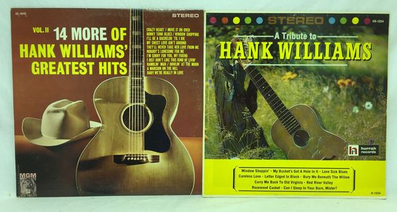 Hank Williams Lot of 2 Vinyl Records A Tribute To + Vol II 14 More Greatest Hits