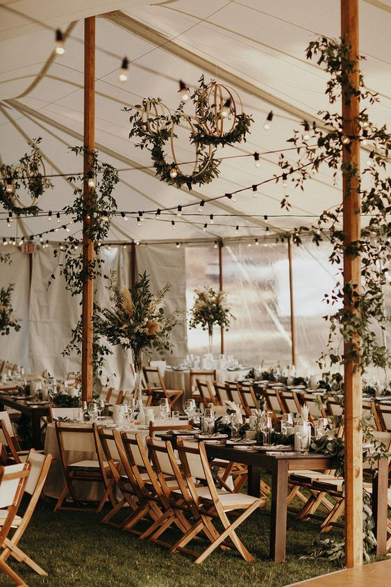 Rustic Wedding Tent with Tons of Greenery. Modern Reception Wedding California. Sonoma Coast.