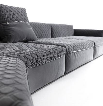 Sforza Sofa Glamour For All To See Thanks To The Precious Embroidery Or The Woven Leather With Contrasting Trim This Sofa Scandinavian Sofas Sofa Furniture