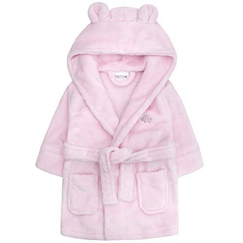 Soft Plush Flannel Fleece Hooded Bath Robe Baby Boys /& Girls Unisex Dressing Gown Ages 6-24 Months