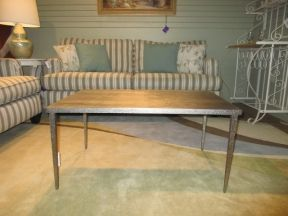 "49.99 | Item #: 49086  Gorgeous metal coffee table in a light bronze with a dimpled finish down the legs. Love the sleek lines! Ideal for a contemporary space. This is a solid piece as well, good weight to it. 36""long x 22""deep x 18""high."