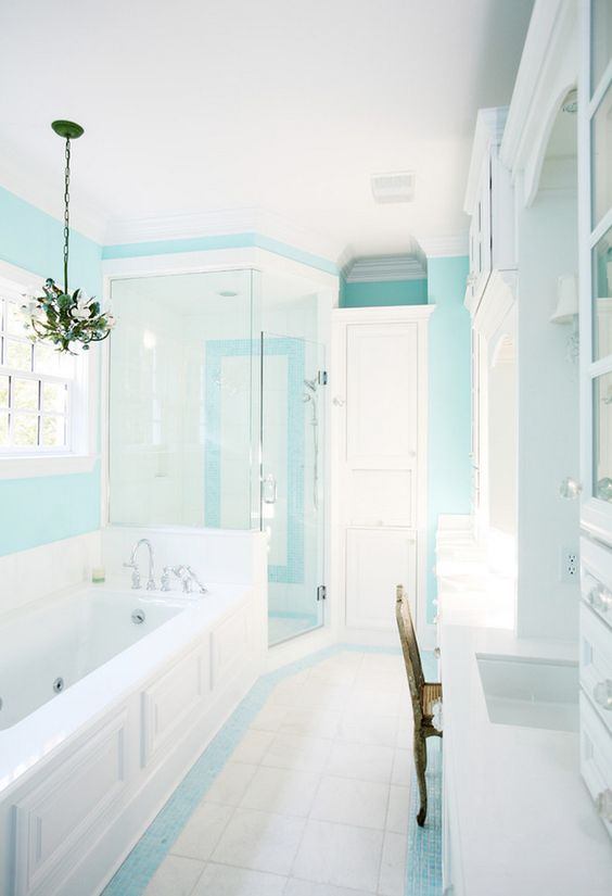 instead of aqua shower tiles aqua paint and some aqua accent on floor tiles beach house decor. Black Bedroom Furniture Sets. Home Design Ideas